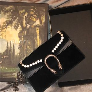Gucci Velvet Crystal Mini Dionysus Bag Black